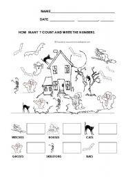 English Worksheet: HOW MANY? COUNT AND WRITE THE NUMBER