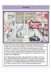 English Worksheets: In the town - I part