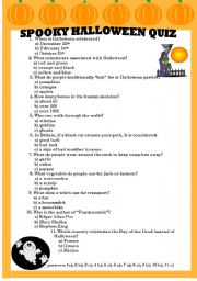 photo regarding Halloween Trivia Questions and Answers Free Printable titled Spooky Halloween Quiz - ESL worksheet by way of olga1977