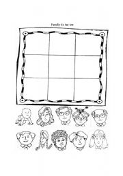 English Worksheet: Family tic tac toe