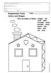 english worksheets gingerbread house colours and shapes