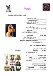 English Worksheet: Pink by Aerosmith part 1