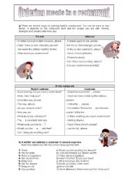 English Worksheet: Ordering meals in a restaurant
