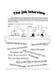 English Worksheets: THE JOB INTERVIEW. Indirect Questions