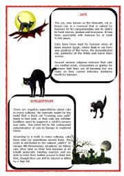 English Worksheet: Halloween - CATS (reading and exercises)