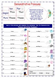 English Worksheets: This, That, Those, These (using clothes vocabulary)