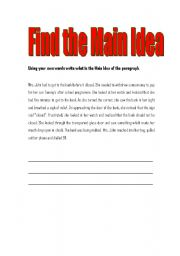 English Worksheets: Finding the Main Idea of a Paragraph
