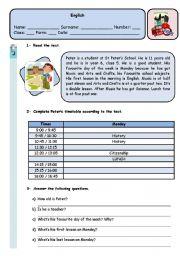 English Worksheet: PETER´S TIMETABLE