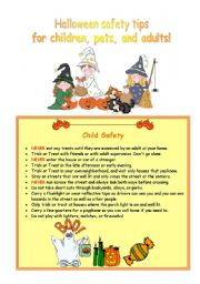 english worksheet halloween safety tips for children pets and adults - Halloween Safety Worksheets