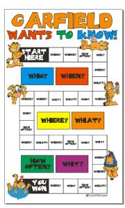 English Worksheet: Game: Garfield wants to know! (printer friendly)