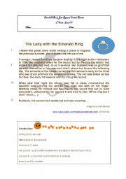 English Worksheet: The Lady with the Emerald ring- Halloween short story