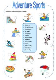 English Worksheet: Adventure Sports 1