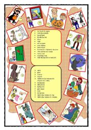 HALLOWEEN GAME - using present continuous and