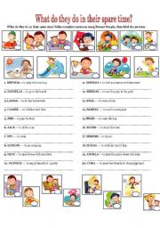 English Worksheets: WHAT DO THEY DO IN THEIR SPARE TIME?