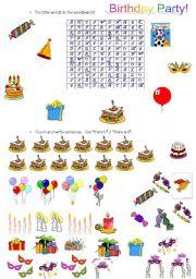 Vocabulary worksheets > Friendship > Birthday party > Birthday Party!