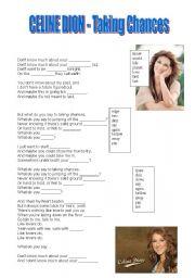 English Worksheets: Celine Dion Taking Chances