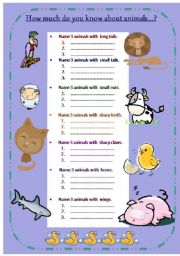 English Worksheets: How much do you know about animals?