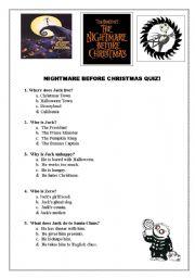 English Worksheet: Nightmare Before Christmas FUN movie Quiz Multiple Choice EASY
