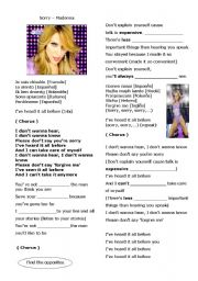English Worksheet: Sorry - Madonna