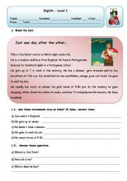 English Worksheets: JOE�S DAILY ROUTINE