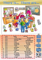 English Worksheet: There is / are  and prepositions