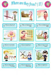 English Worksheets: Questions : Where are they from?   ( II )