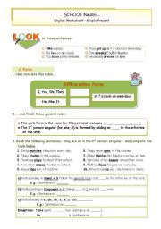 English Worksheet: Simple Present - Affirmative Form