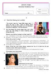 English Worksheets: Rihanna - Reading Comprehension + Writing Test