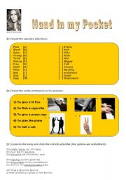 English Worksheet: Song: Hand in my pocket - by Alanis Morissette