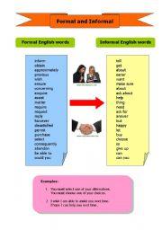 English Worksheets: Formal/ Informal Words