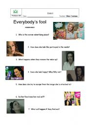 English Worksheets: Evanescence videoclip - Everybody�s fool PART I