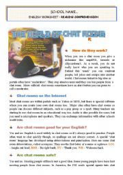 English worksheet: The World of Chat Rooms - Reading comprehension