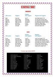 English Worksheets: Common expressions with �BE�