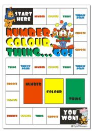 English Worksheets: Game: Number, colour, thing... Go!
