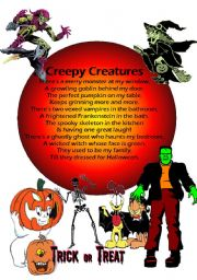 English Worksheet: CREEPY CREATURES POEM