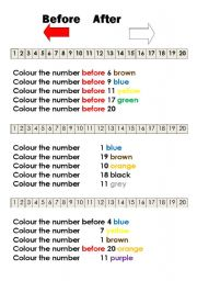 English Worksheet: numbers before and after