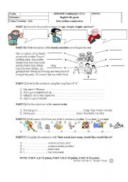 English Worksheet: super exam for 6th grade