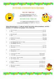 future continuous exercises intermediate pdf