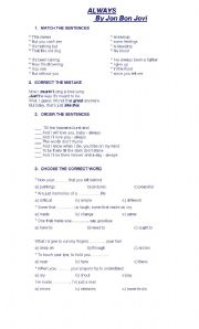English Worksheet: ALWAYS - BON JOVI