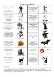 English Worksheet: Monster Dominoes ~ Starter Activity