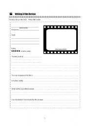 English Worksheet: Writing a film review