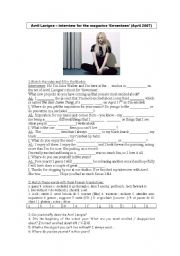 English Worksheets: Avril Lavigne�s interview