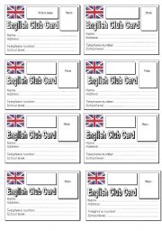 English Worksheets: English Club Card
