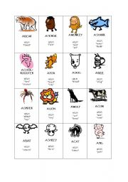 English Worksheets: Animals Taboo game