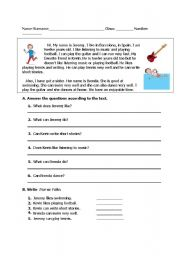 English Worksheets: reading text about abilities