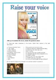 English Worksheets: Movie Activity - Raise your voice