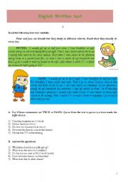 English Worksheets: Peter and Jane�s daily routine