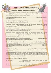 English Worksheet: Conditional clauses - The cat and the mouse story