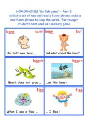English Worksheet: Homophones Go Fish game - Part 3