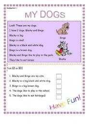 English Worksheets: my dogs - reading comprehension